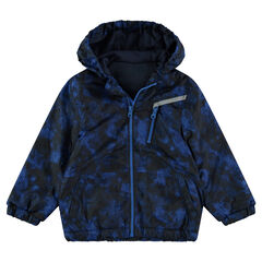 Shibori-effect windbreaker with a microfleece lining