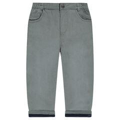 Poplin pants with microfleece lining