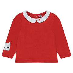 Long-sleeved tee-shirt with Peter Pan collar and cat patch