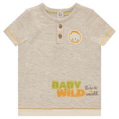 Short-sleeved double jersey tee-shirt with a lion patch