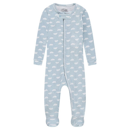 Ribbed footed sleeper with clouds printed all over