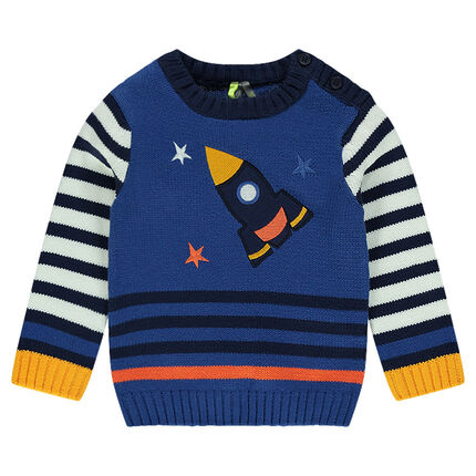 Knit sweater with an embroidered rocket
