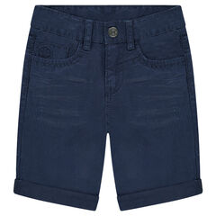 Crinkled-effect overdyed cotton bermuda shorts