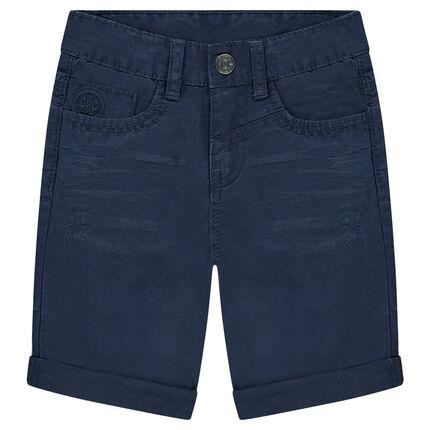 Crinkled-effect overdyed cotton bermuda shorts