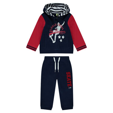 Two-tone fleece sweatsuit with a skater print and French terry message