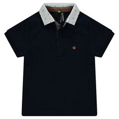 Short sleeve polo shirt with printed collar
