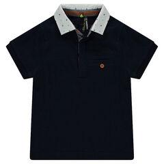 Short sleeve polo shirt with printed collar