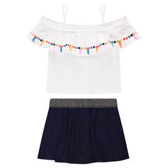 Ensemble with a bare-shouldered top and a jersey skort
