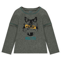 2-in-1 effect long-sleeved tee-shirt with printed wolf