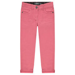 Plain-colored slim fit twill pants