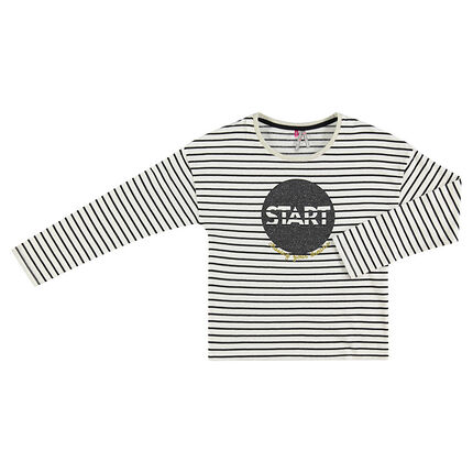 Long-sleeved striped tee-shirt featuring sparkly print in front