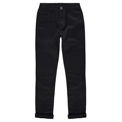Junior - Plain-colored canvas pants with topstitching on the legs
