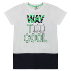 Two-tone short sleeve t-shirt with print