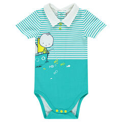 Short-sleeved bodysuit in jersey with polo-neck collar and stripes