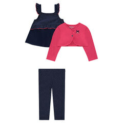 3-piece ensemble with a frilled tunic, plain-colored bolero and leggings with polka dots