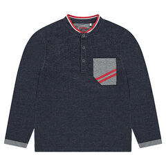 Jersey polo shirt with contrasting details