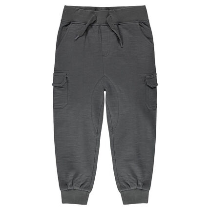 Slub fleece, low-crotch sweatpants