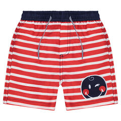 Beach shorts with allover stripes and a ©Smiley print