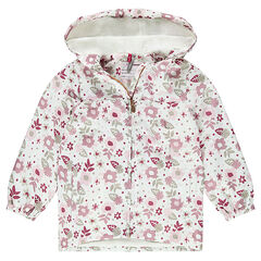 Hooded windbreaker with a thin sherpa lining and featuring an allover floral print