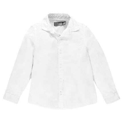 Junior - Long-sleeved, plain-colored cotton shirt