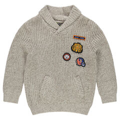 Chunky knit sweater with badge patches