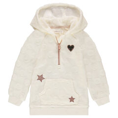 Hooded sherpa sweatshirt with sequined motifs and a zipped collar