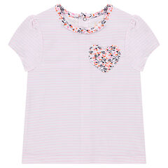 Short-sleeved striped tee-shirt with floral heart on pocket