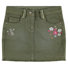 Used-effect twill skirt with embroidered flowers and golden piping