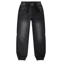 Used denim-effect fleece jeans