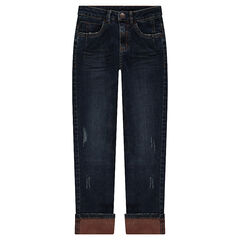 Junior - Used and crinkled-effect jeans with a contrasting lining