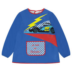 Long-sleeved school apron with printed car