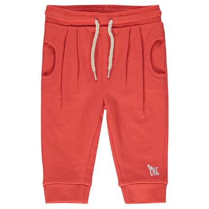 Plain-colored, fleece baggy pants