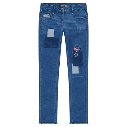 Junior - Used and crinkled-effect jeans with floral embroidery