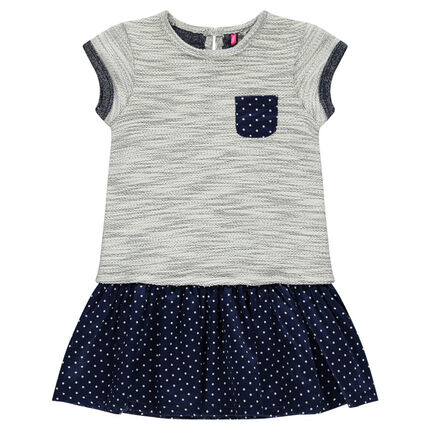 Bi-material dress in trendy fleece and polka dot cotton voile fabric