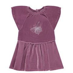 Short-sleeved panne velvet dress with an embroidered butterfly
