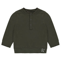 Lightweight fleece sweatshirt with a buttoned opening in front