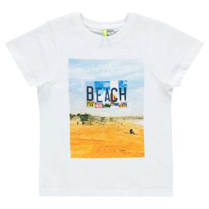 Short-sleeved slub tee-shirt with beach visual in front