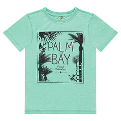 Junior - Short-sleeved jersey tee-shirt with printed palm trees