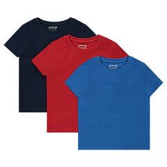 Lot de 3 tee-shirts manches courtes unis en jersey
