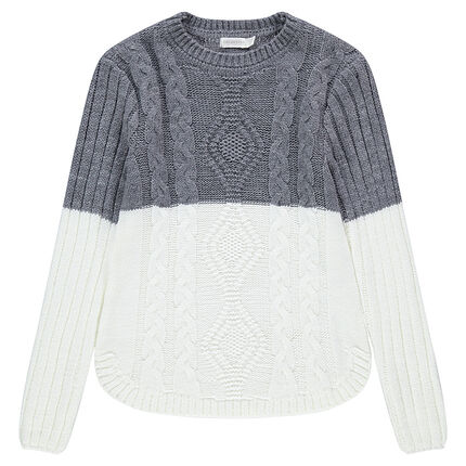 Junior - Long two-tone knit sweater with cables