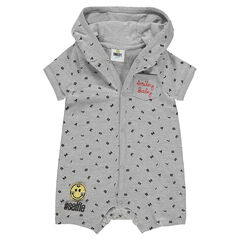 Hooded romper with allover letters and a ©Smiley badge