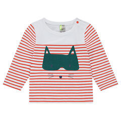 Striped jersey tee-shirt with a felt print animal