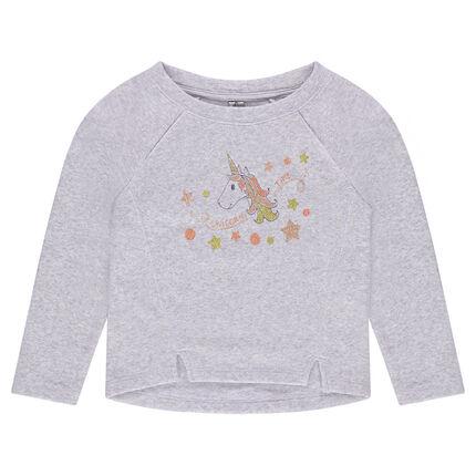 Fleece sweatshirt with asymmetrical seams and decorative print