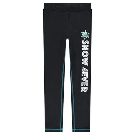 Junior - Ski leggings with a printed text and a warm lining