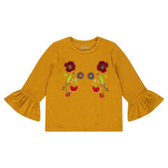 T-shirt with flounce sleeves with floral embroidery