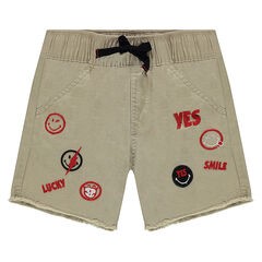 Twill shorts with ©Smiley badges