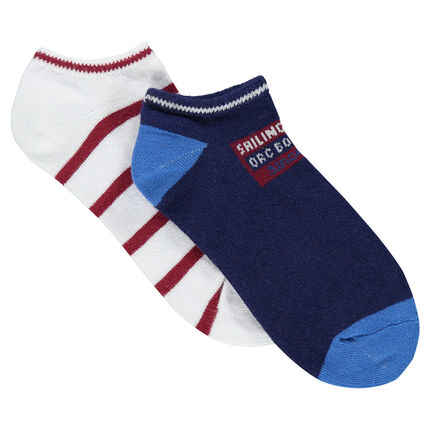 Set of 2 pairs of matching plain-colored/striped low socks