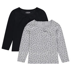 Set of 2 long-sleeved plain/printed tee-shirts