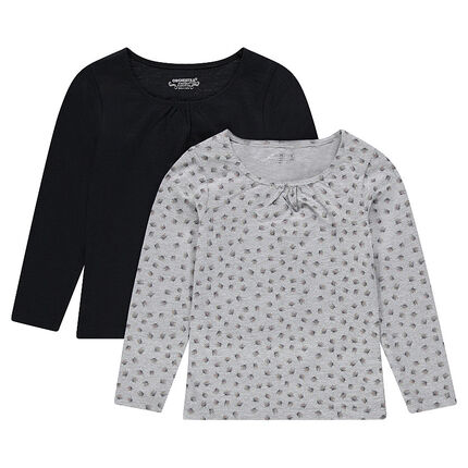 Junior - Set of 2 long-sleeved plain/printed tee-shirts