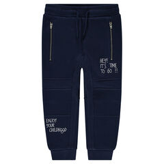 Fleece sweatpants with zippers and printed messages